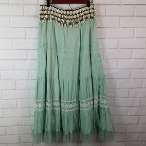 Soft Surroundings Boho Maxi Skirt Shell Tulle Sz M
